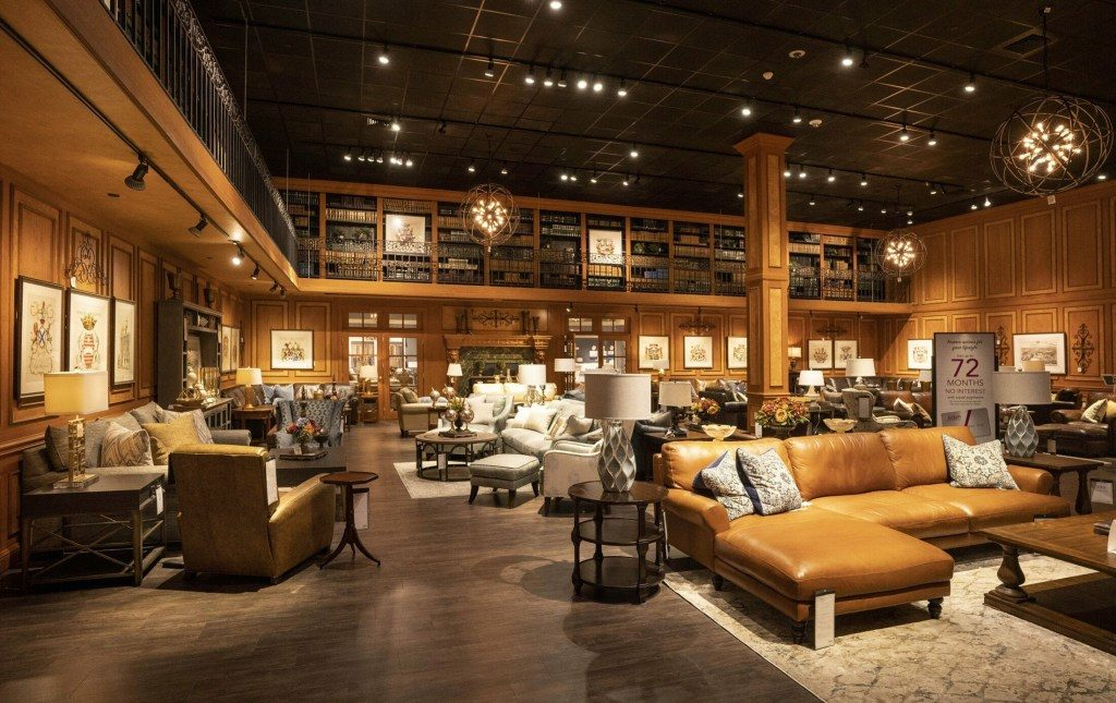 Two out-of-state furniture chains are opening stores in Greater Portland. Here is a living room display from the Jordan
