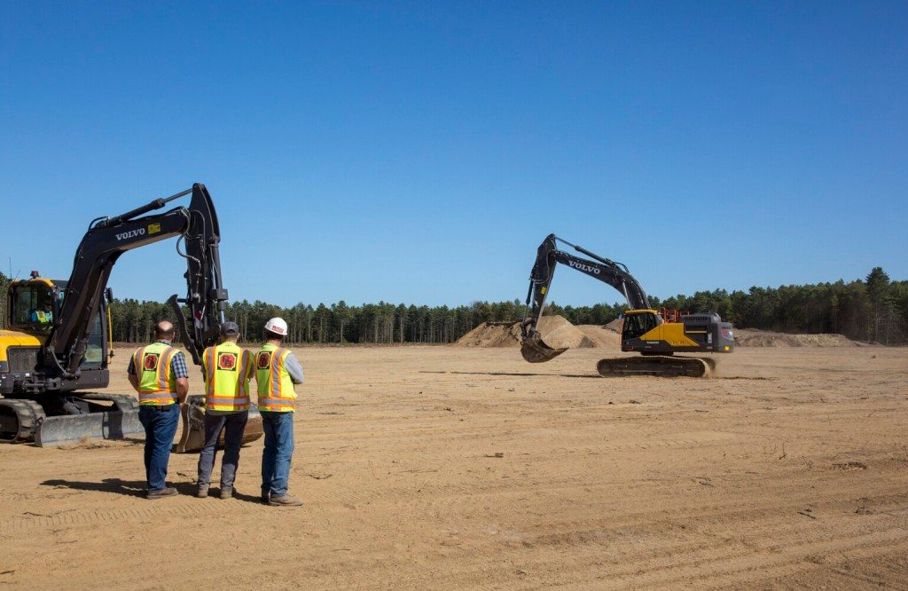 Crews set up their construction machinery on Wednesday for Friday